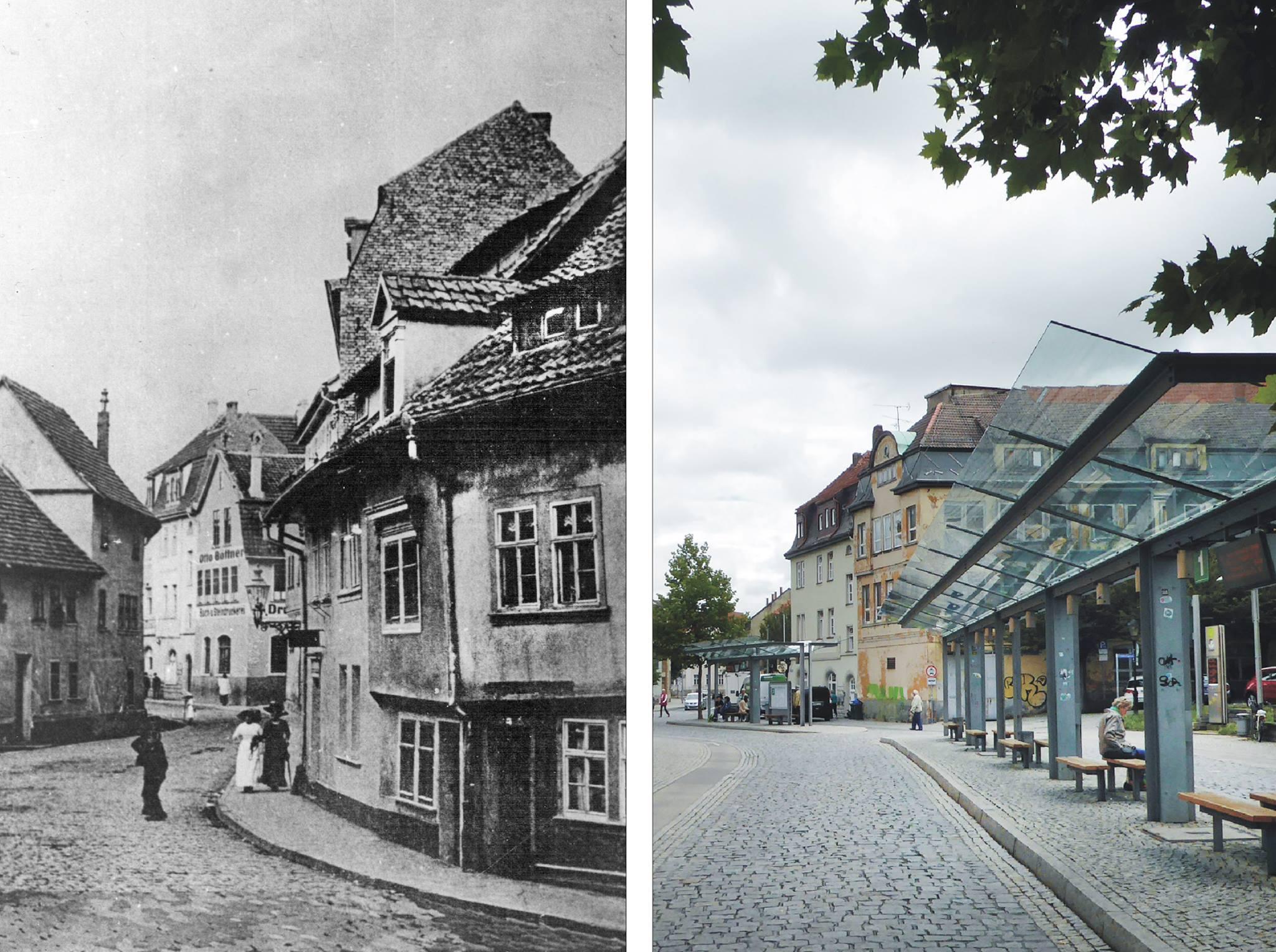 """Wir sind um 1910 und 2017 """"An der Weiße"""" und blicken zum Haus des Buchdruckereibesitzers Otto Böttner an der Ecke zur """"Friedhofsgasse""""."""
