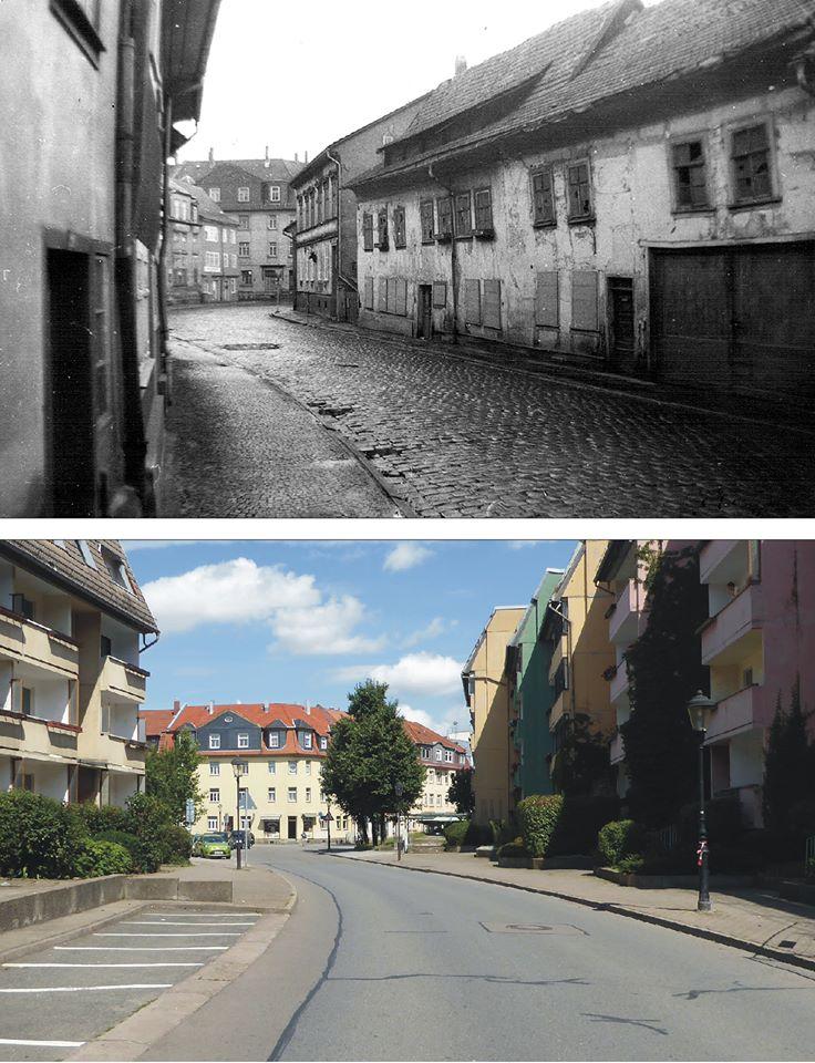 """Wir sind um 1975 und 2017 An der Weiße. Der Orientierungspunkt für diesen Vergleich war die Ecke zur Turnvater-Jahn-Straße. Jetzt ist hier der """"Bustreff-Döner"""". Damals war es der Friseur """"Ermich""""."""