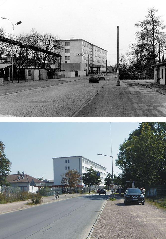 Wir sind im Bierweg und blicken zum Bürohaus des ehemaligen RFT-Betriebes. Heute Agentur für Arbeit. Um 1993/95 und 2017
