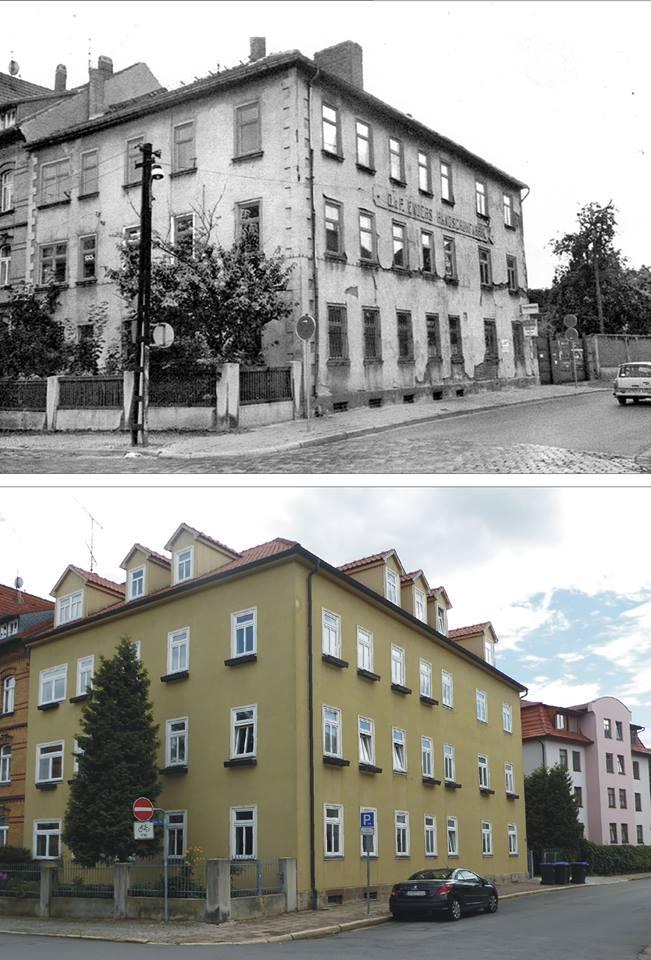Wir sehen, um 1985 und 2017, auf das Haus Riedmauer 10. Es wurde 1903 von Osmar und Paul Enders als Handschuhfabrik erbaut.