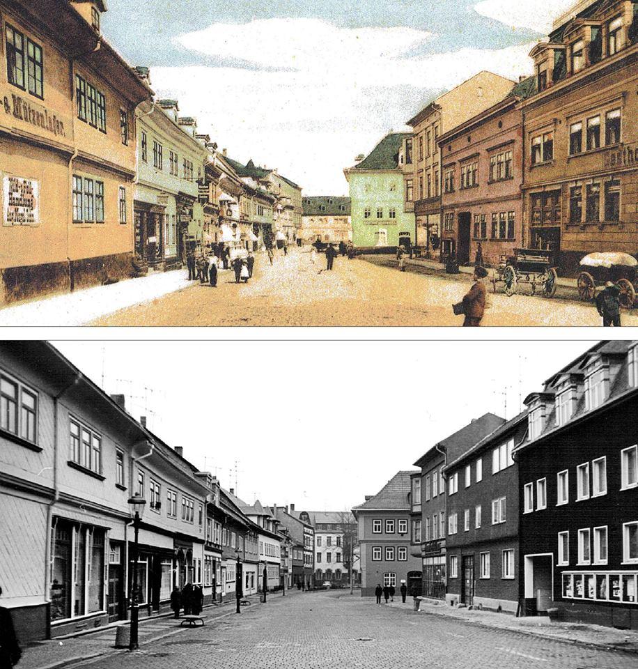 Heute blicken wir um 1905 und um 1985 über den Holzmarkt.