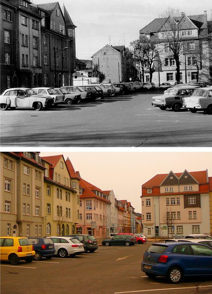 """Blick vom Parkplatz """"Alter Friedhof"""" zur Krappgartenstraße um 1985 und Januar 2015."""