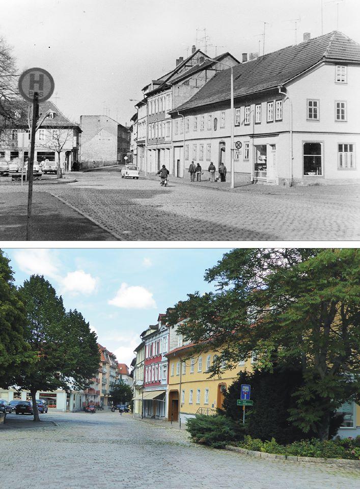 Wir sind auf dem Riedplatz und gehen zur Rankestraße. Um 1980 und 2017.