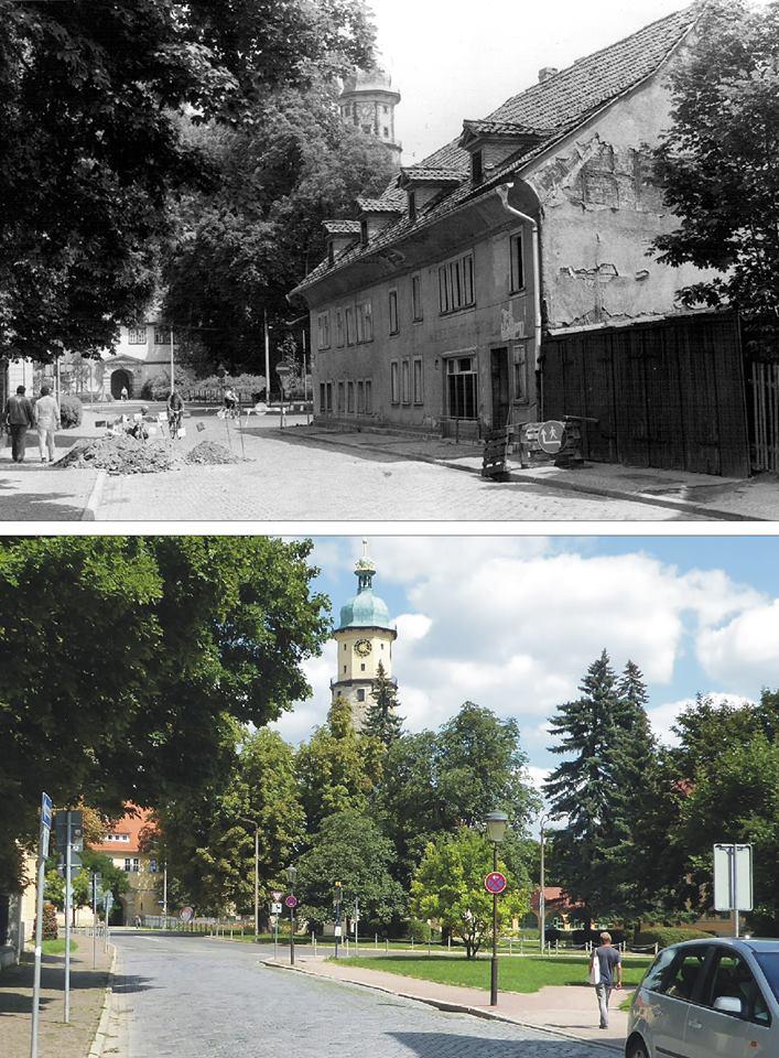 Wir gehen 1987 und 2017 von der Schloßstraße zur Neideckstraße. Auf dem Bild von 1987 sehen wir die Waagenfabrik Broemel kurz vor dem Abriss.